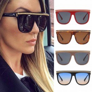 Flat Top Oversized Sunglasses with Gold Tone Brow Bar