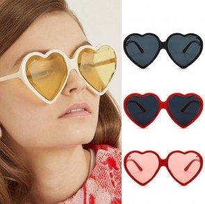 Oversize retro cute heart shaped tinted sunglasses
