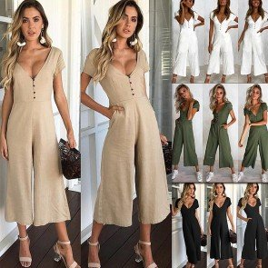 Casual Short Sleeve V Neck Front Buttons Wide Leg Jumpsuit