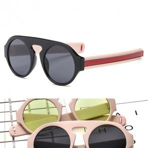 Chic Round Sunglasses Flat Top Frame Key Hole Bridge