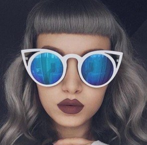 Hollow Cat Ear Rim Sunglasses Fashion Flat Lens Shades