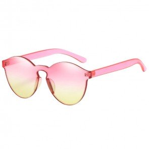 Round Rimless Two Tone Flat Lens Summer Bright Sunnies