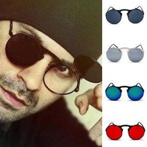 Round retro indie flip up lens steampunk sunglasses