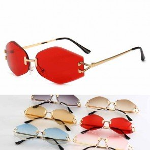 Cute Tiny Rhombus Shape Sunglasses Small Rimless Lens