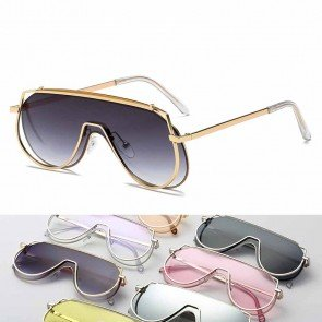Retro oversized metal frames blades teardrop lenses