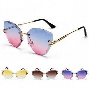 Modern Rimless Cat Eye Sunglasses Vibrant Colors