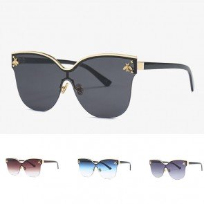 Rimless Cat Eyes Shaped Bees Decorated Sunglasses