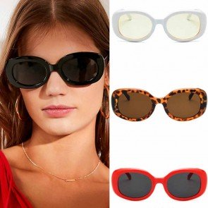 Stunning chic round frame oversize oval sunglasses