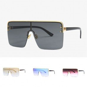 Flat top squared aviator oversized shield sunglasses