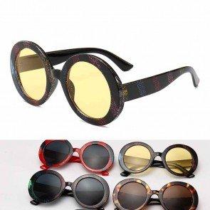 Oversize Vintage Rainbow Glitter Round Cute Sunglasses