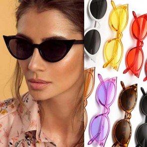 Ladies colorful lens cute small cat eye sunglasses