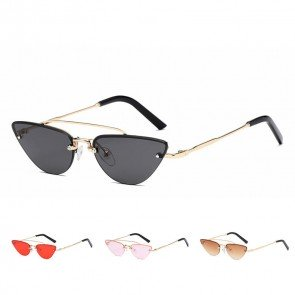 Horn rimmed cateye shades flat lens trendy silhouette