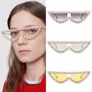 Cat Eyes Sunglasses Crystal Vintage Shades Smoke Lens