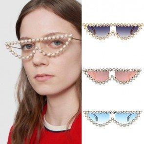 Cat Eyes Sunglasses Crystal Vintage Shades Smoke Lens