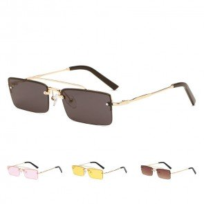 Chic statement double nose bridges rimless sunglasses
