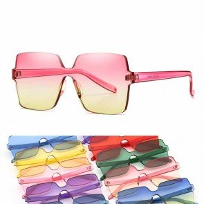 Cute rimless square candy color one piece sunglasses
