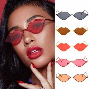 Hot Sexy Lips Shades Chic Curved Flat Lens Sunglasses