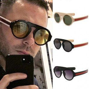Round Acetate Sunglasses Flat Top Frame Red Green Legs