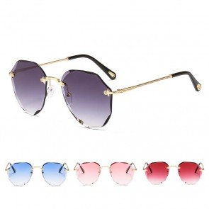 Rimless gradient eye-catching style sunglasses on trend