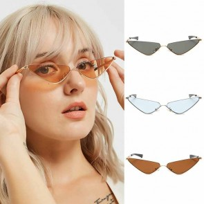 Half Rimless Chic Edgy Slim Cat's Eye Tiny Sunglasses
