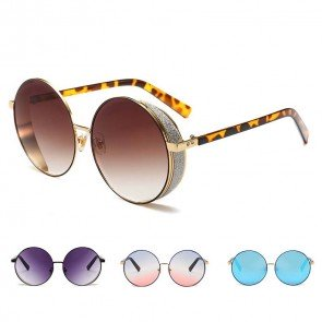 Retro festival punk sunglasses round lens side shield