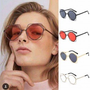 Retro Chic Metal Frame Flat Lens Hexagon Sunglasses
