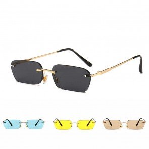 Hexagon Lightweight Metal Temple Vintage Sunglasses