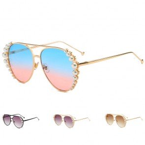 Pearl embellished metal frame luxury aviator sunglasses