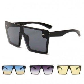 Modern flat top mono lens shield square sunglasses