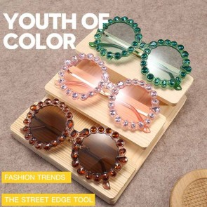 Translucent Lens Retro Oversized Round Bling Sunglasses