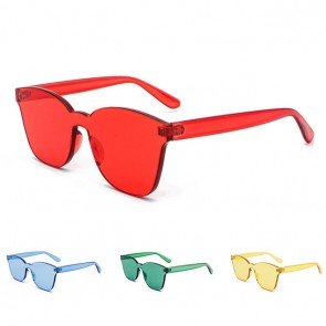 One piece flat lens rimless cat eye candy sunglasses