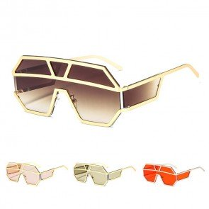 One piece shield lens steampunk wraparound sunglasses