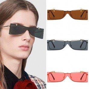 Minimal metal frame one piece flip up lens sunglasses