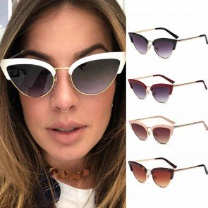 90's Style Luxury Cat Eye Sunglasses Gold Tone Temples