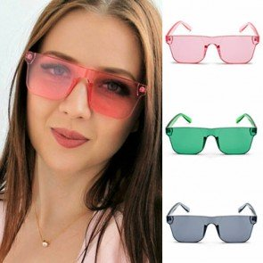 Shield Lens Flat Top Rectangle Bottom Sunglasses