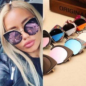 Half-Frame Cat Eye Sunglasses Women Summer Sun Glasses