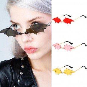 Bat Wings Sunglasses Rimless Small Shades Metal Legs