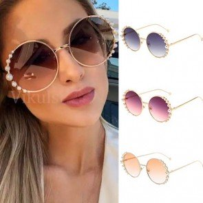 Retro Metal Frame Flat Lens Pearls Round Sunglasses