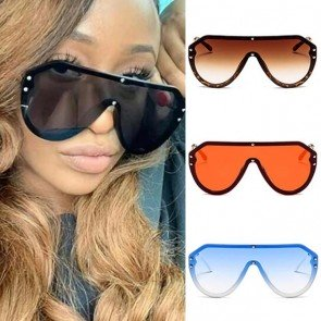 Oversized One Piece Sunglasses Female Flat Top Eyewear