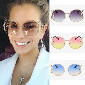 Retro round gradient lens colorful oversize sunglasses