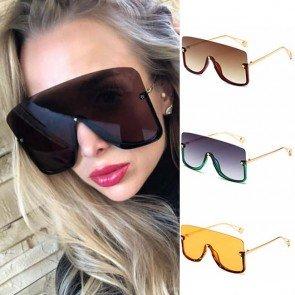 Women Large Half Frame Oversized Mono Lens Sunglasses