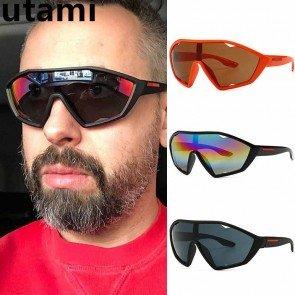 One piece wrap around lens mask shield sport sunglasses