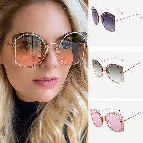 Modern Chic Metal Frame Flat Lens Round Sunglasses