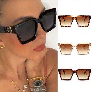 Oversized female gradient vintage square sunglasses