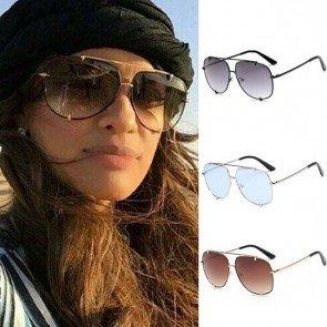 Sleek aviator sunglasses double bridges gradient lenses
