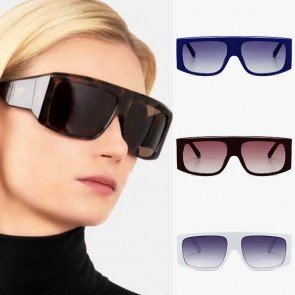 Oversized fashion flat top vintage aviator sunglasses