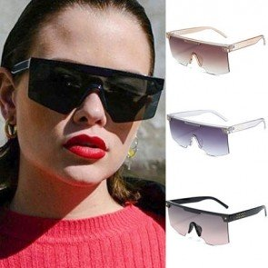 Half Frame Flat Top Visor Sunglasses One Piece Shades