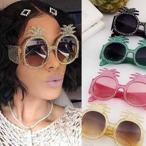 Colorful Festival Pineapple Luxury Bling Sunglasses