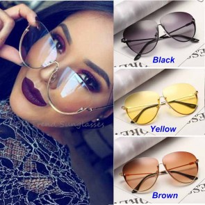 Street Fashion Rimless Tear Drop Clear Lens Sunglasses