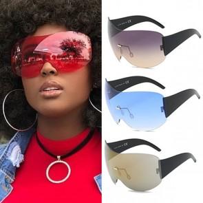 Wraparound Shield Super Oversized Aviator Sunglasses